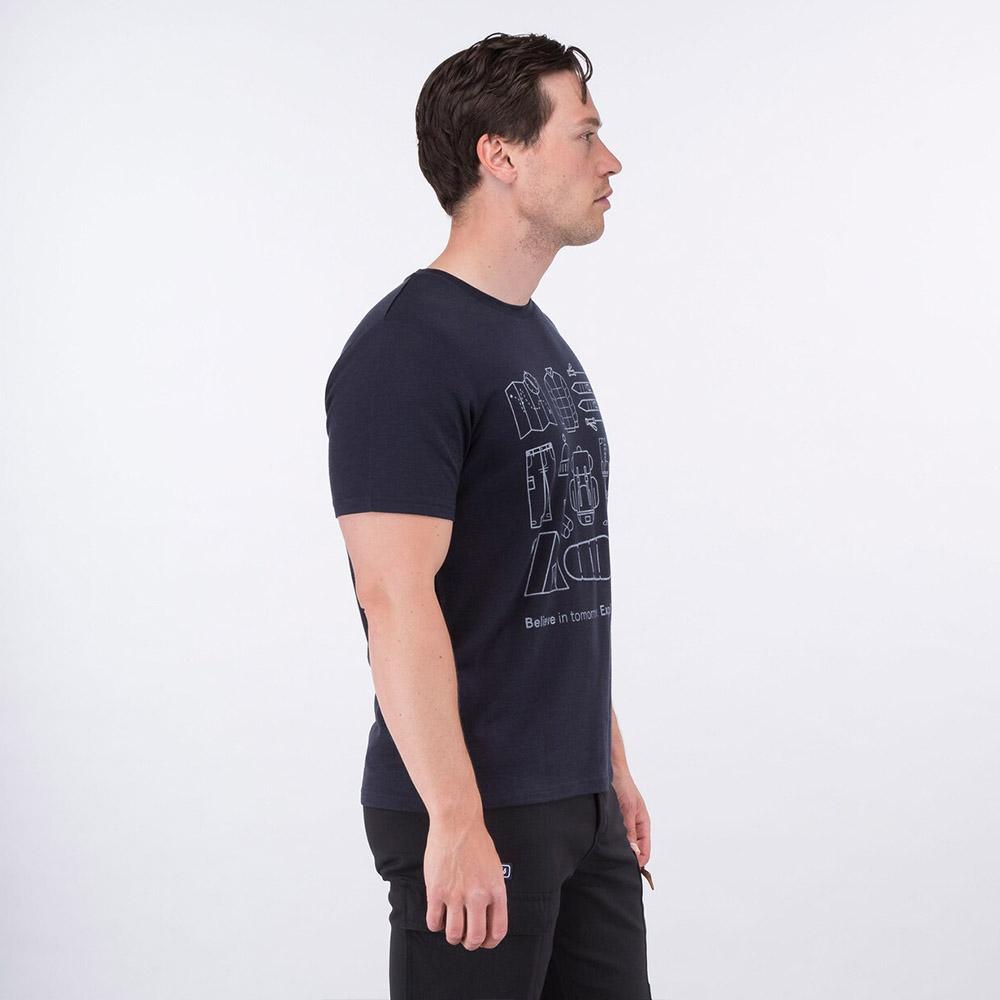 Профил на мъжка тениска от мерино вълнa Bergans Graphic Wool Tee Dark Navy 2021