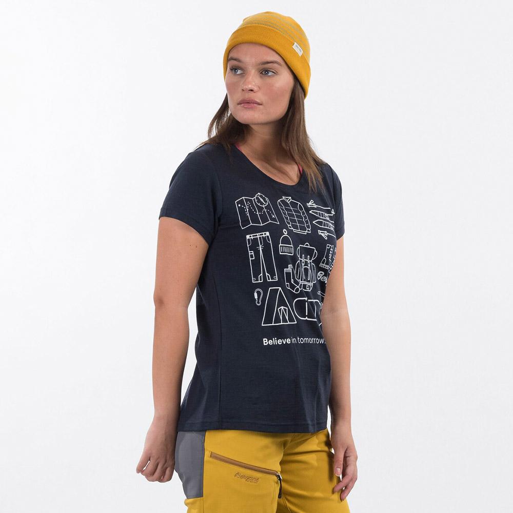 Профил на дамска тениска от мерино вълнa Bergans Graphic Wool W Tee Dark Navy 2021