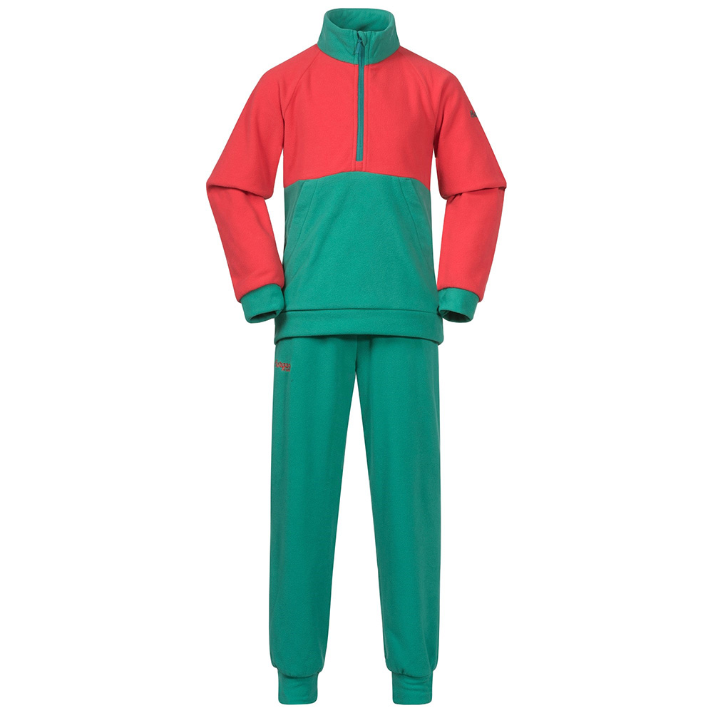 Детски поларен комплект Bergans Smådøl V4 Kids Set Greenlake / Dahlia Red 2021