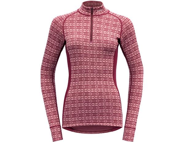 Дамска термо блуза с дълъг ръкав и висока яка Devold Alnes Woman Half Zip Neck Foxglove 2021