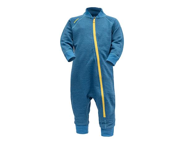 Детски термо гащеризон от мерино вълна Devold Nibba Baby Wool Playsuit Blue Melange 2021