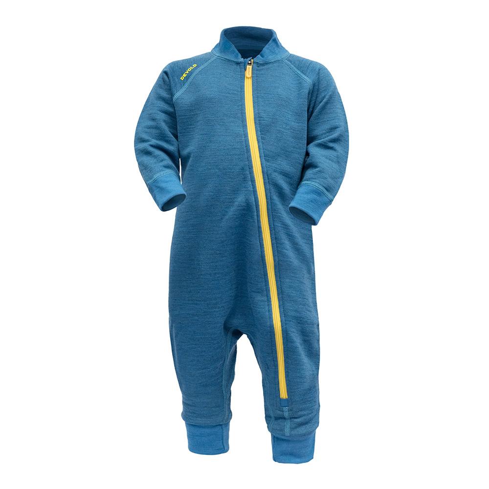 Бебешки термо гащеризон от мерино вълна Devold Nibba Baby Wool Playsuit Blue Melange 2021