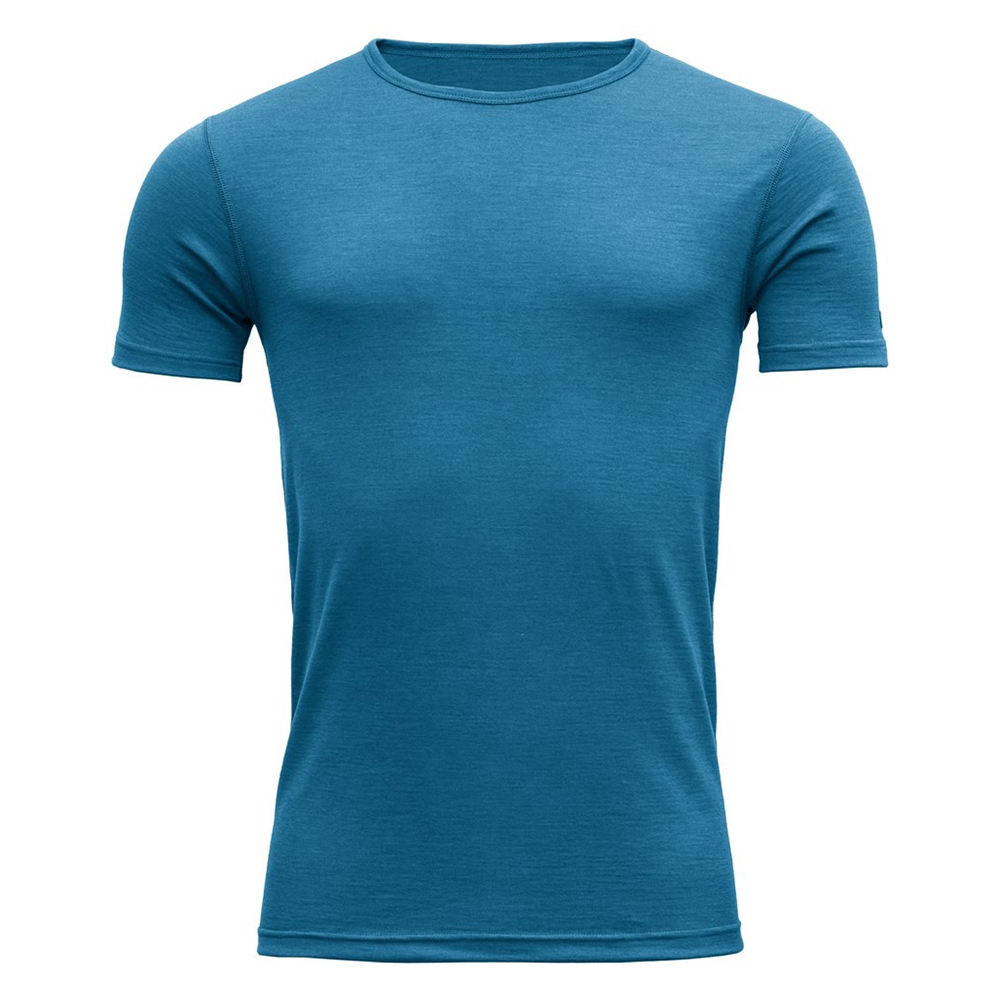 Мъжка термо блуза с къс ръкав Devold Breeze Man Tee Blue Melange 2021