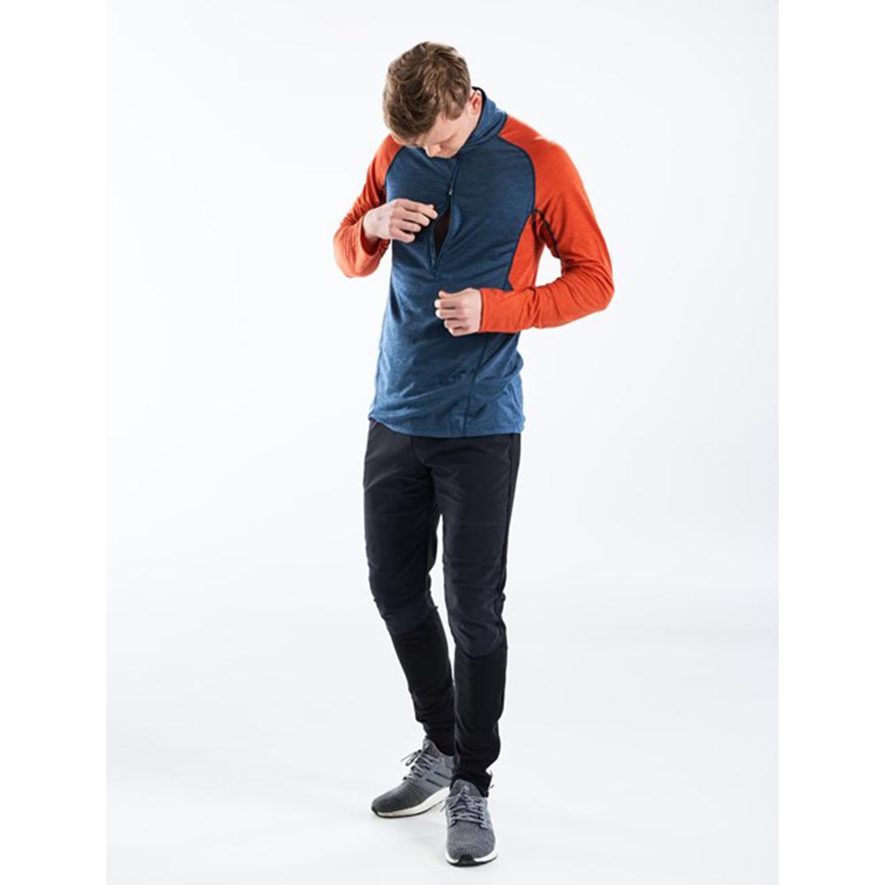 Цип на мъжка блуза за бягане с дълъг ръкав Devold Running Man Zip Neck Pond 2021