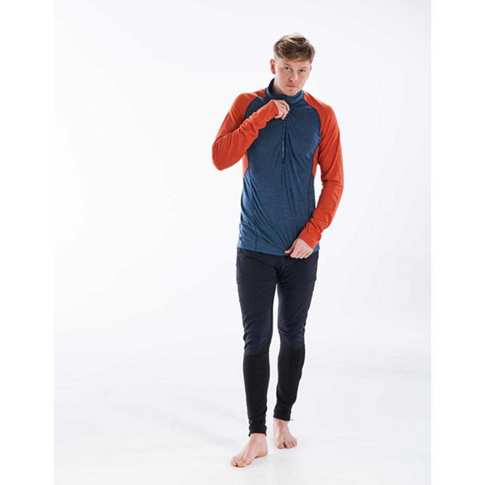 Лице на мъжка блуза за бягане с дълъг ръкав Devold Running Man Zip Neck Pond 2021