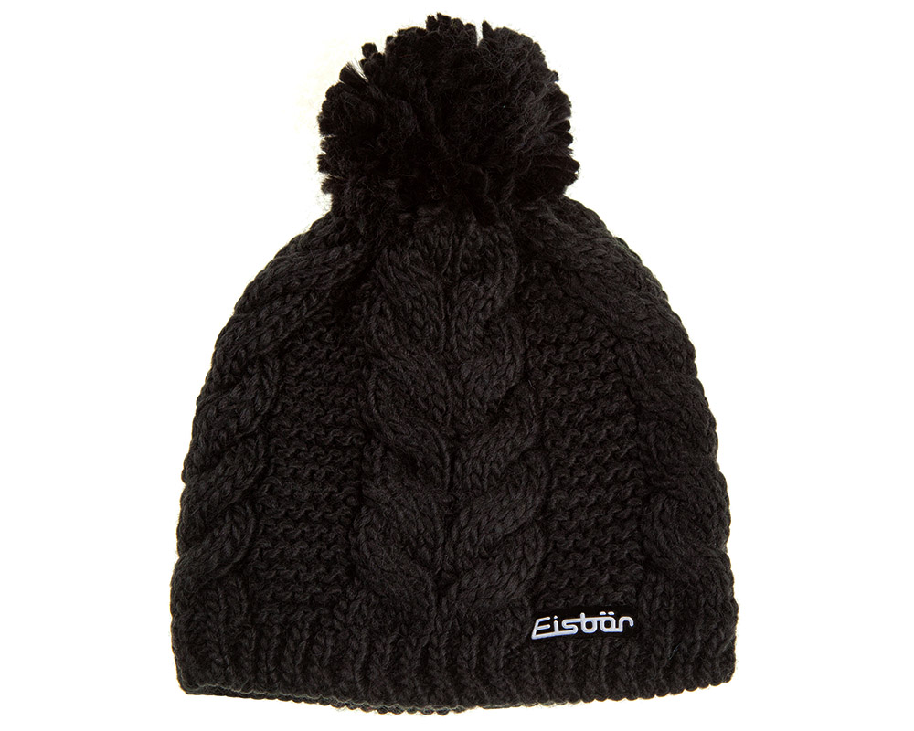 Вълнена зимна с помпон шапка Eisbär Antonia MÜ Black