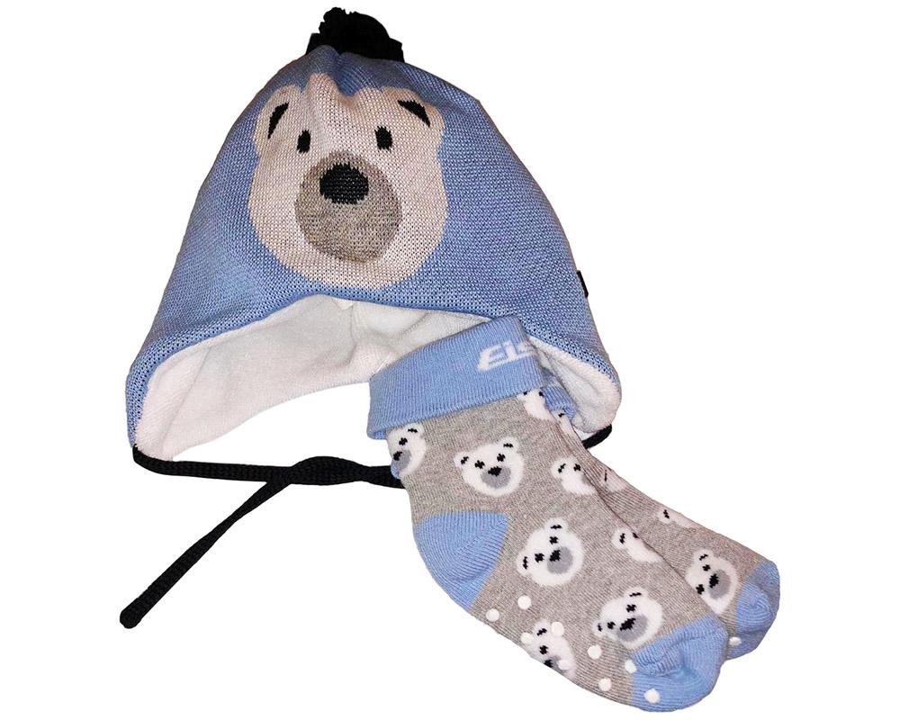 Комплект бебешка шапка с чорапки My First Eisbär Blue