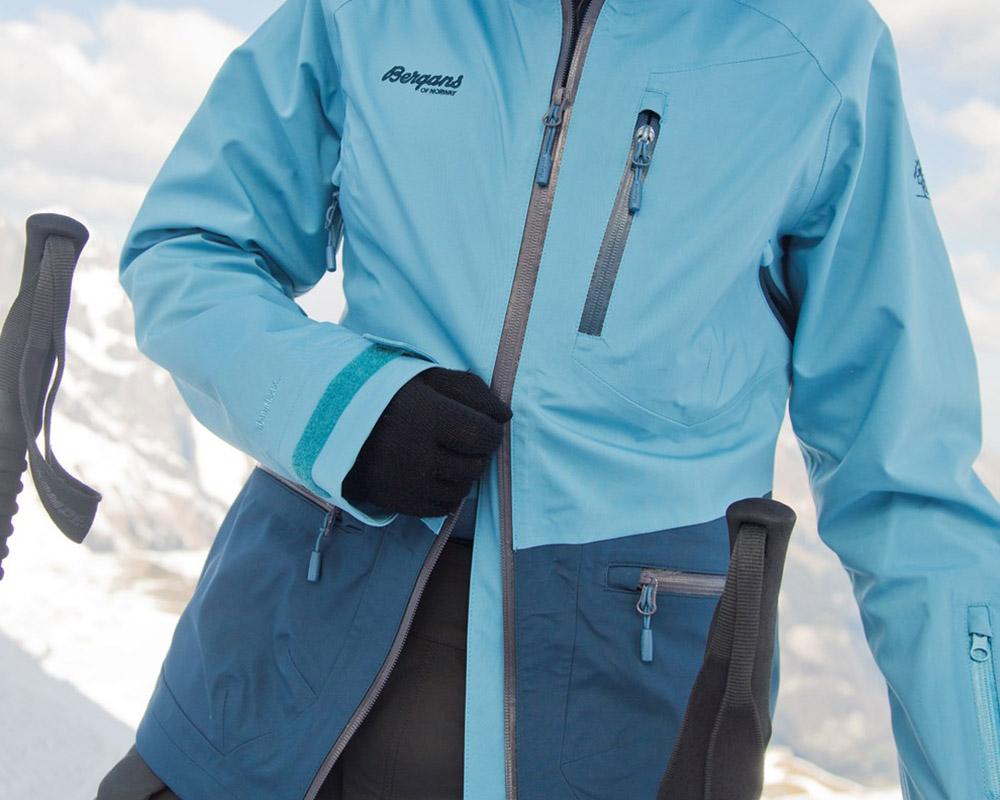 Двупосочен преден цип на дамско хардшел ски яке Bergans Myrkdalen Insulated Lady Jacket