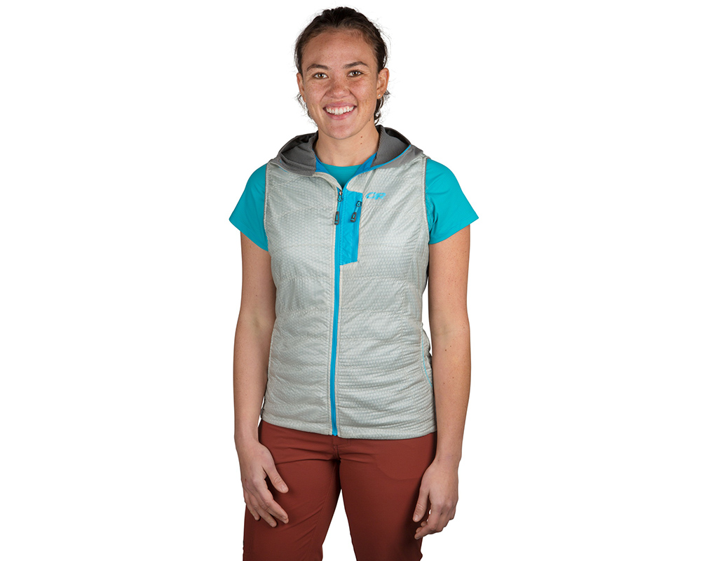 Лице на дамски поларен елек Outdoor Research Deviator Hooded Vest Alloy Pewter