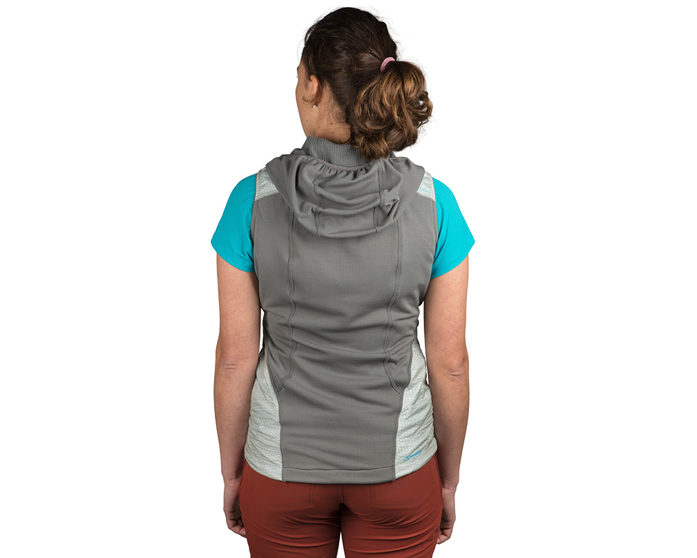 Гръб на дамски поларен елек Outdoor Research Deviator Hooded Vest Alloy Pewter