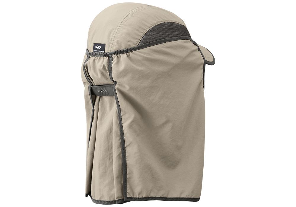 Гръб на туристическа шапка с пустинен шал Outdoor Research Sun Runner Cap Khaki