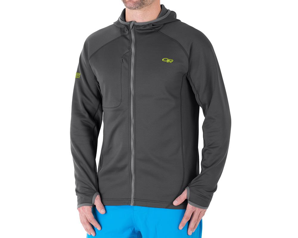 Мъж, облечен в дишащо поларено яке Outdoor Research Radiant Hybrid Hoody Charcoal