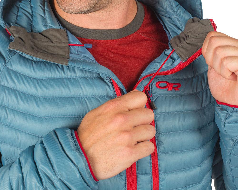 Вътрешни шнурове за пристягане на яката на пухено яке Outdoor Research Verismo Hooded Down Jacket