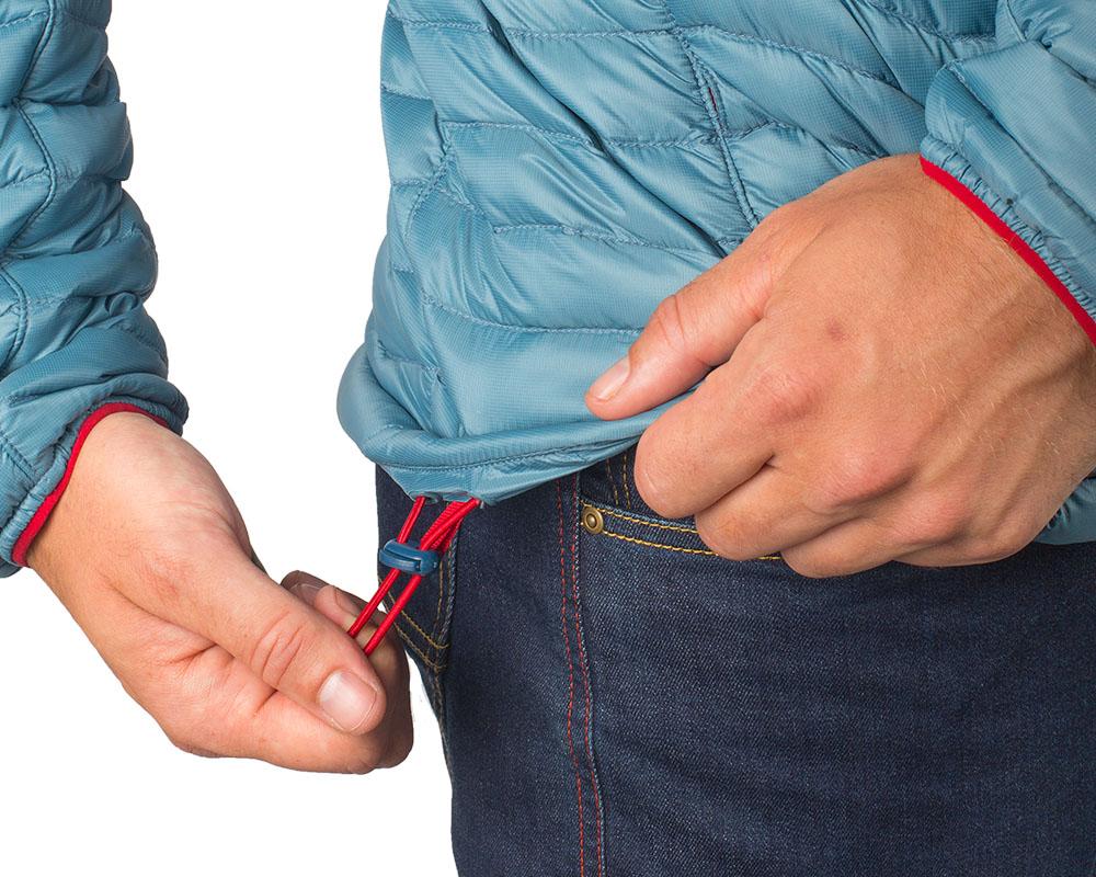 Шнурове за пристягане в талията на пухено яке Outdoor Research Verismo Hooded Down Jacket