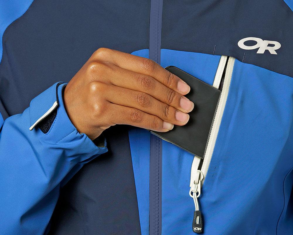 Страничен джоб с цип дамско хардшел ски яке Outdoor Research Skyward II Jacket Naval Blue 2019