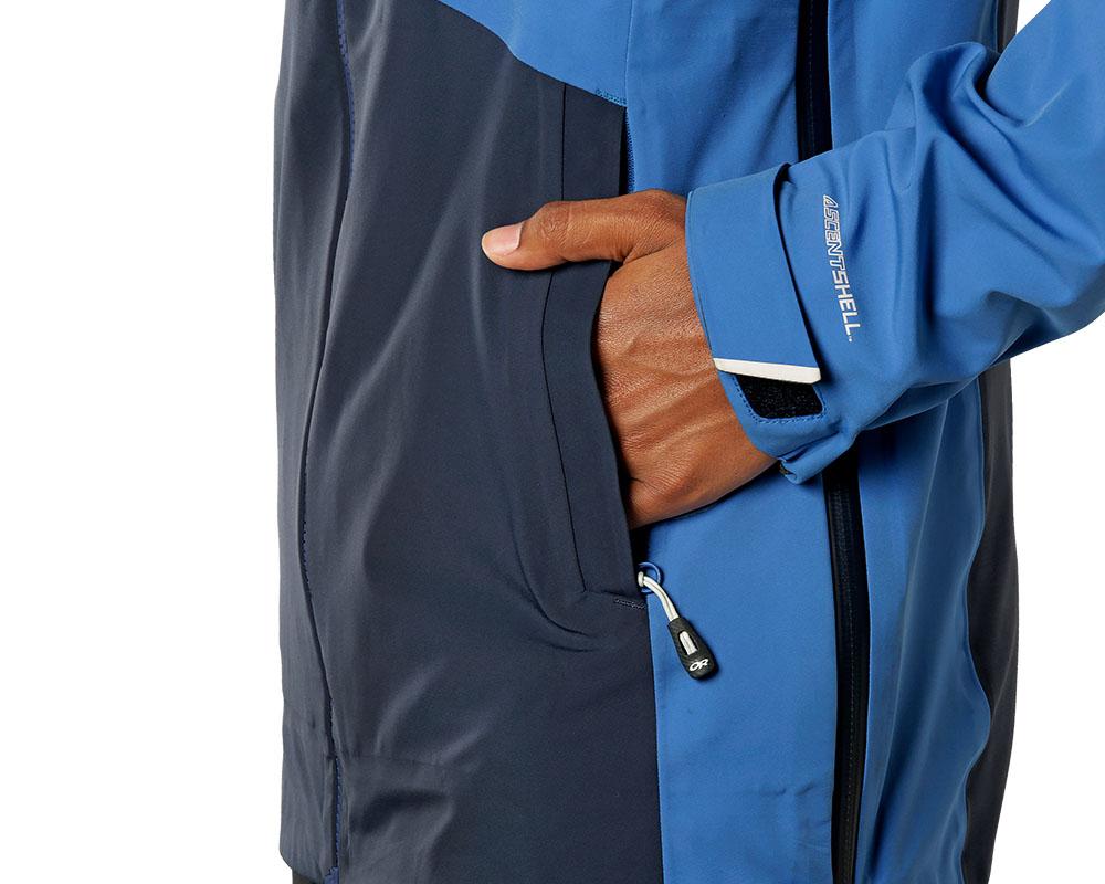 Странични джобове с ципове дамско хардшел ски яке Outdoor Research Skyward II Jacket Naval Blue 2019