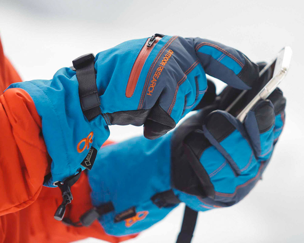Touchscreen функция ръкавици с GoreTex за ски Outdoor Research Southback Sensor Glove Black