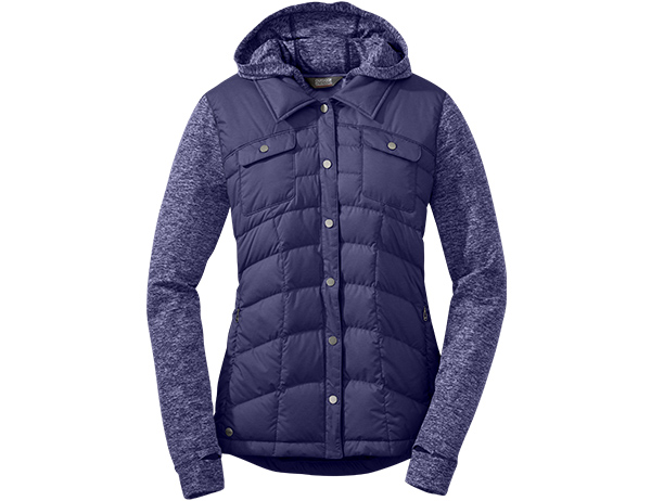 Дамско пухено хибридно яке Outdoor Research Plaza Down Jacket Blue Violet 2020