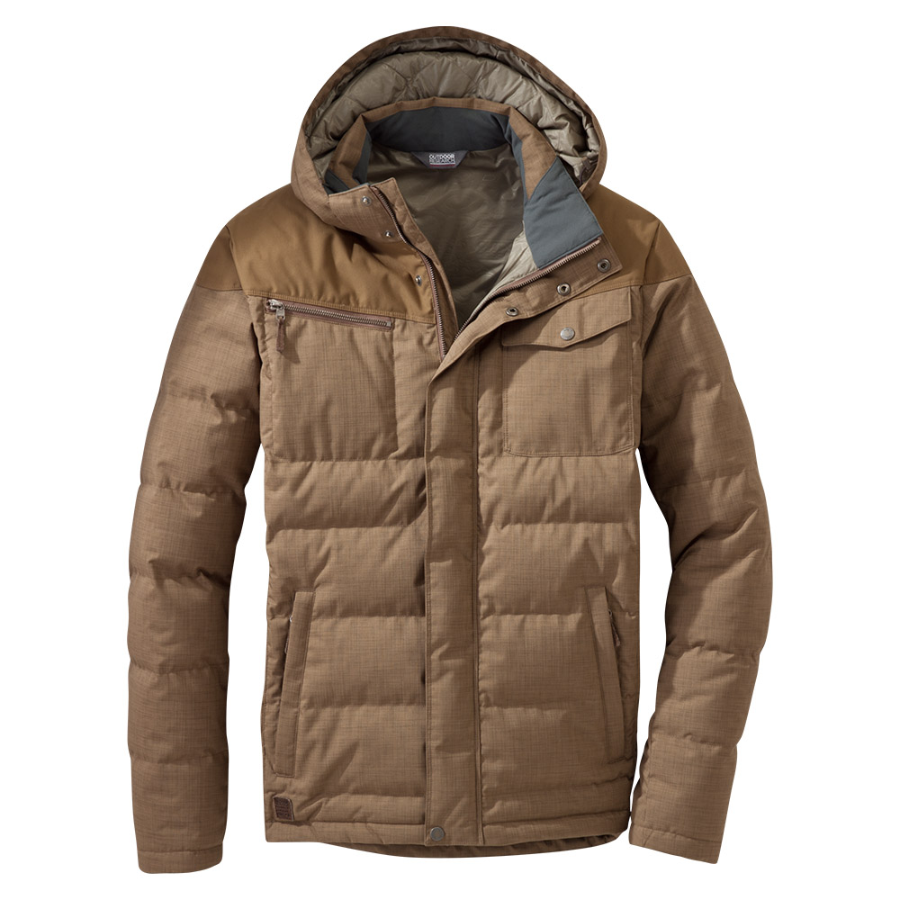Лице на мъжко пухено яке Outdoor Research Whitefish Down Jacket Coyote 2020