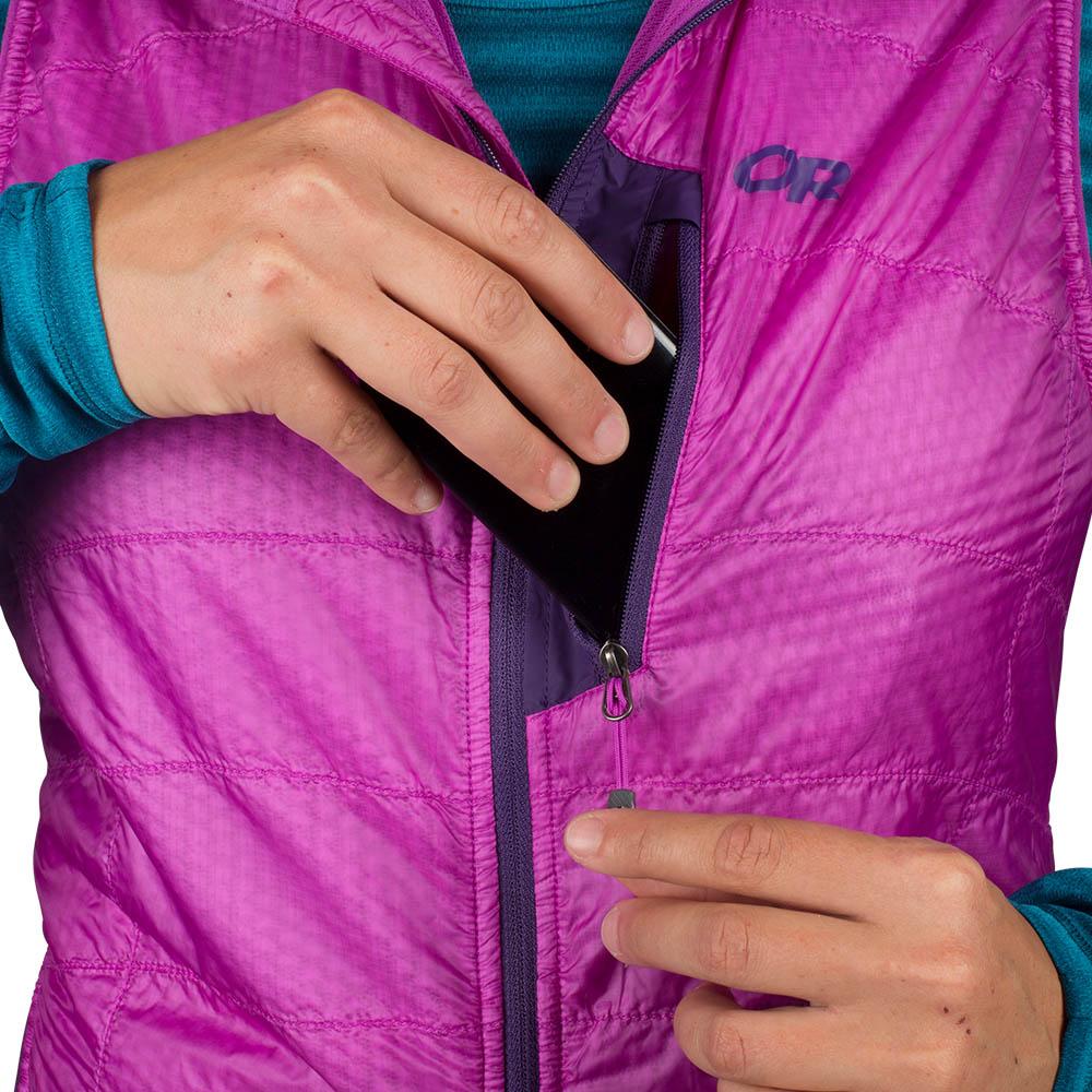 Chest pocket Outdoor Research Deviator Hooded Vest Ultraviolet 2021
