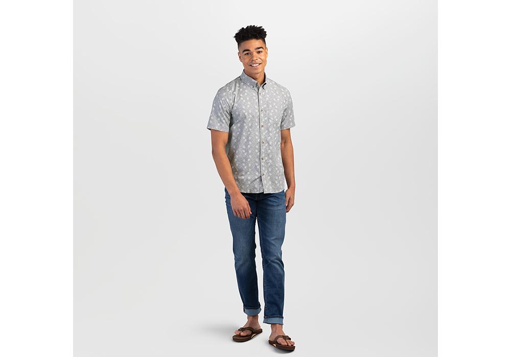 Мъжка туристическа риза с къс ръкав Outdoor Research Janu Light Pewter 2021