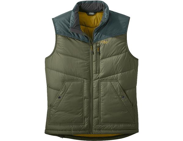 Мъжки пухен елек Outdoor Research Transcendent Down Vest Fatigue / Fir 2021