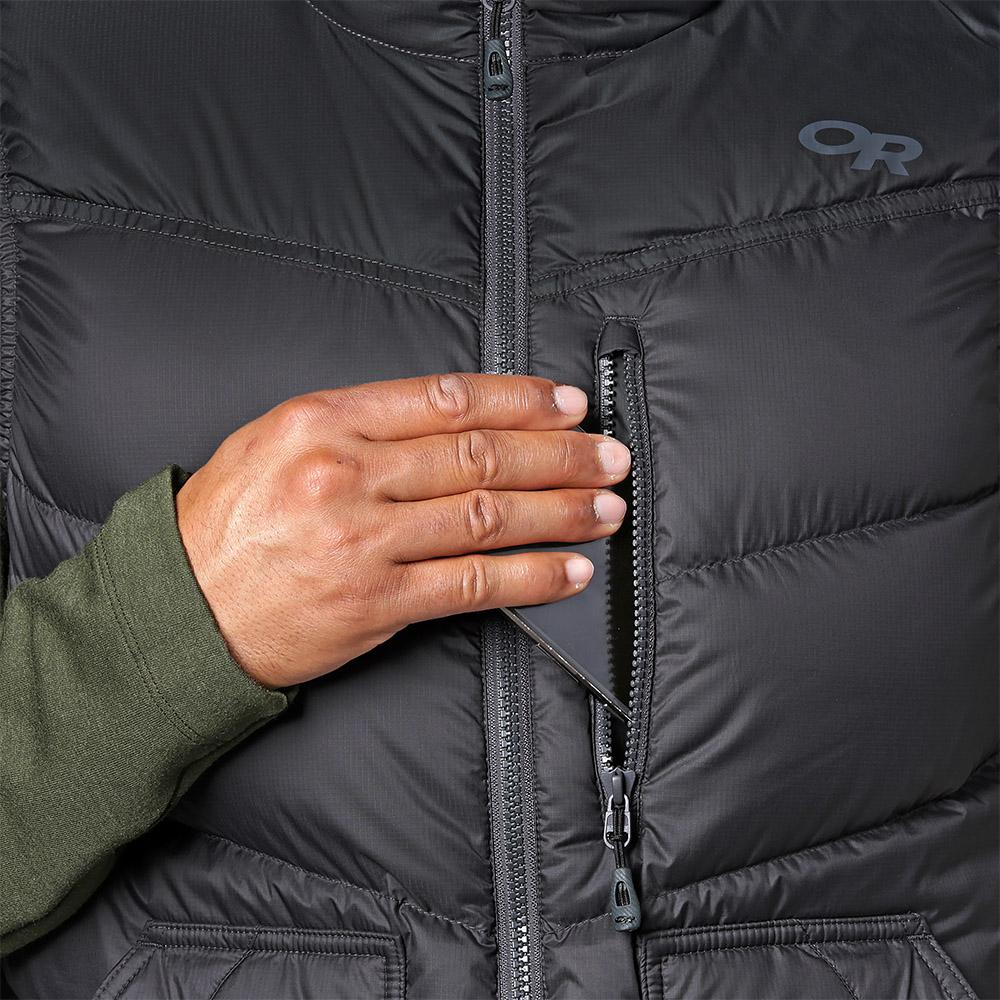 Преден страничен джоб с цип пухен елек Outdoor Research Transcendent Down Vest