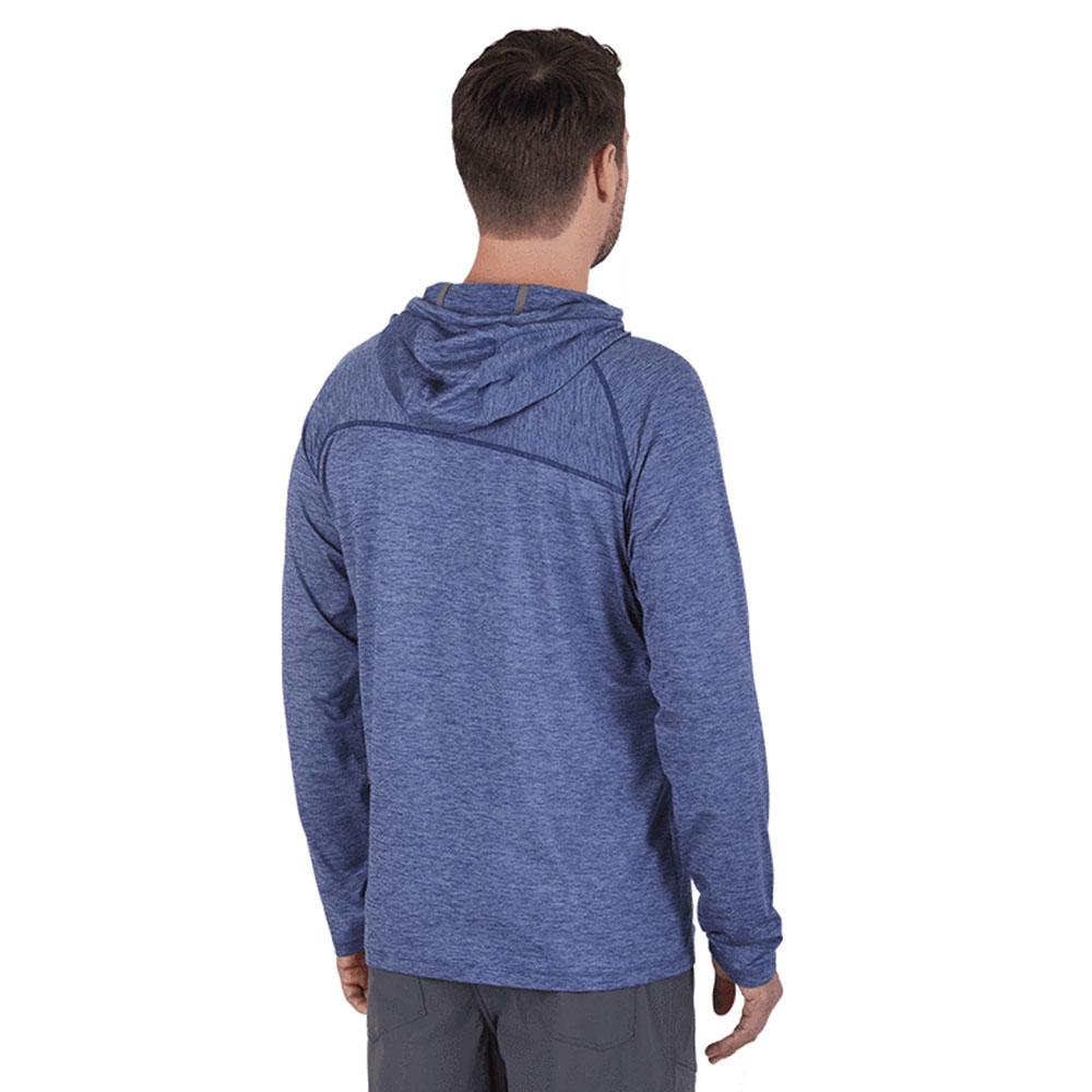 Гръб на мъжка блуза с дълъг ръкав и качулка Outdoor Research Chain Reaction Hoody Twilight Heather 2021