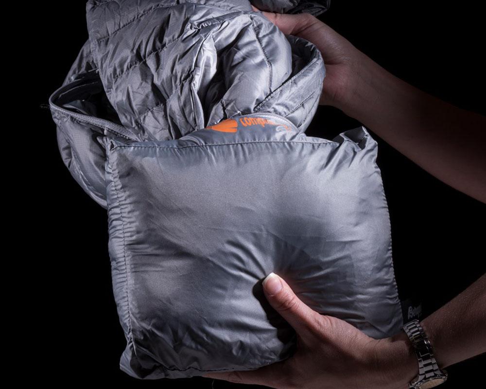 Компресия на дамско пухено яке с качулка Bergans Slingsbytind Down Lady Jacket