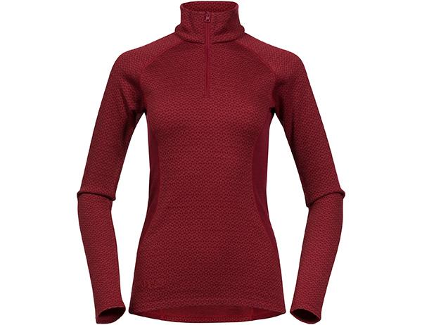 Дамска термо блуза с дълъг ръкав Bergans Snøull Lady Half Zip Bordeaux 2019