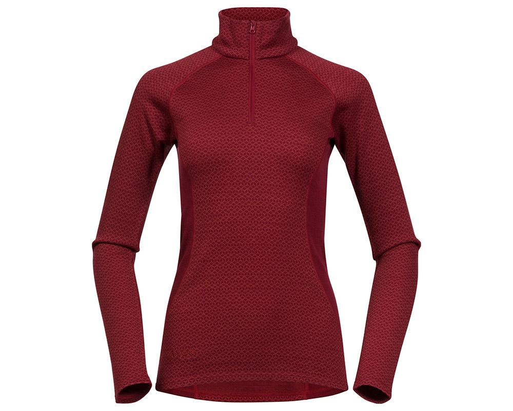 Дамска термо блуза поло от мерино вълна Bergans Snøull Lady Half Zip Bordeaux 2019