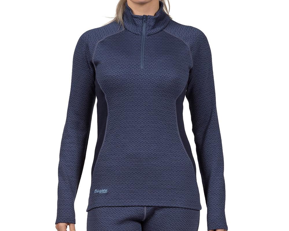 Жена, облечена в термо блуза поло от мерино вълна Bergans Snøull Lady Half Zip