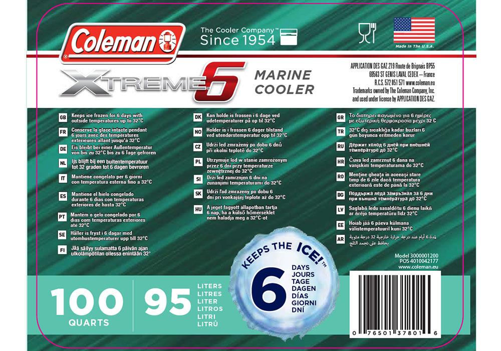 Спецификации на хладилна чанта Coleman 100QT Xtreme Marine Cooler