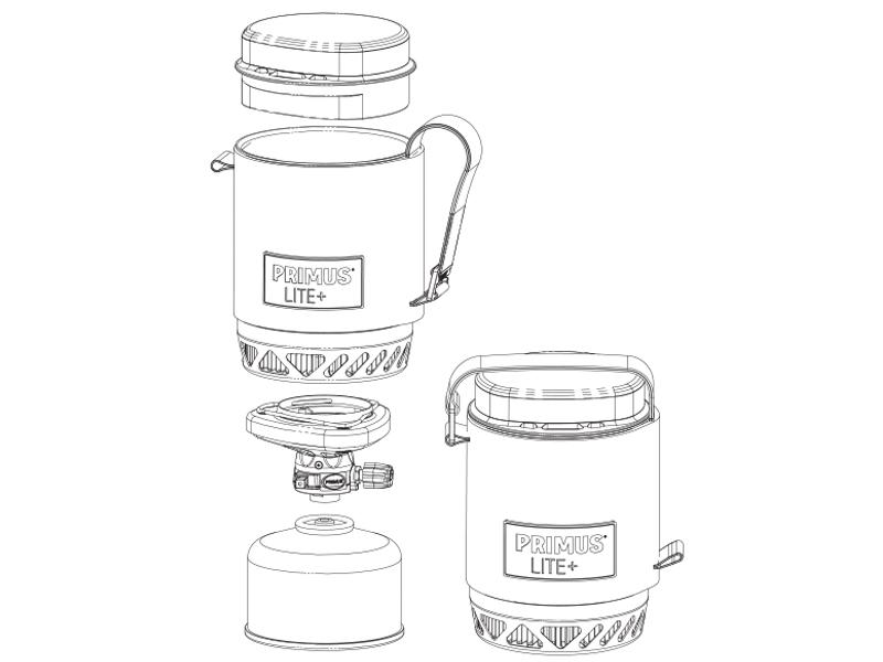 Чертеж с размери на Система за готвене Primus Lite Plus модел 2017