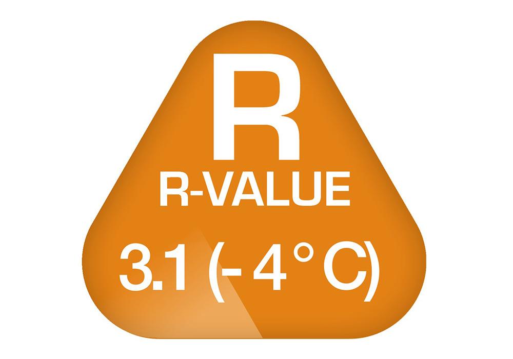 R-Value на самонадуваема постелка 3.8 см Robens Air Impact L