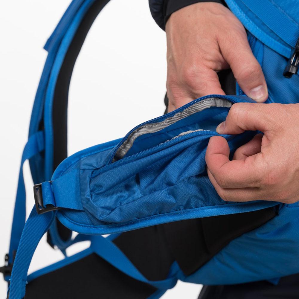 Кръстен колан с джоб на ски на раница за ски Bergans Slingsby 34L Athens Blue