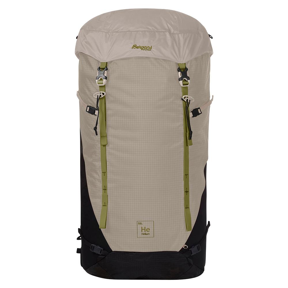 Front Bergans Helium V5 55 Backpack Chalk Sand / Dark Green Oasis