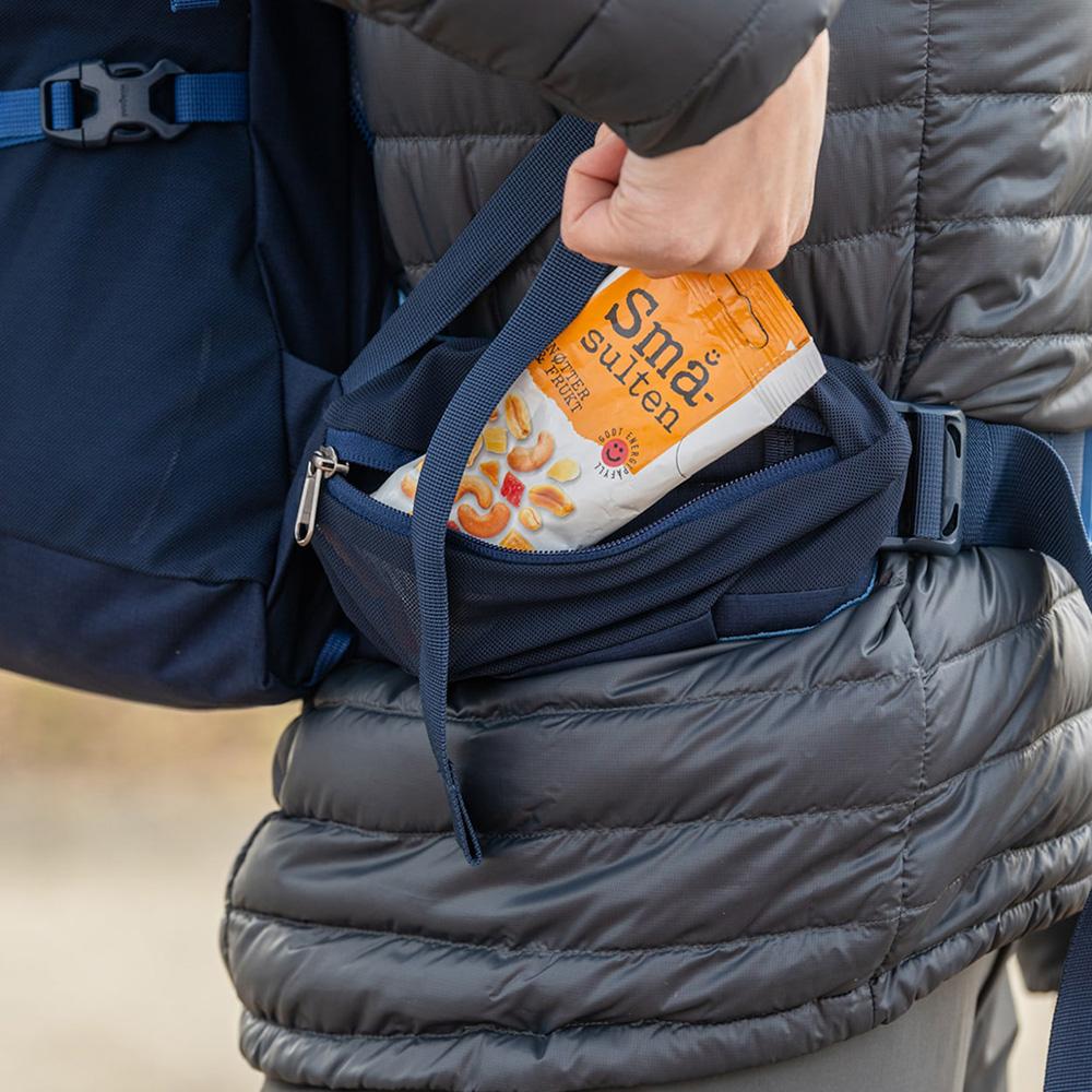 Страничен джоб с цип на туристическа раница Bergans Rondane V6 40 Dark Riviera Blue 2021