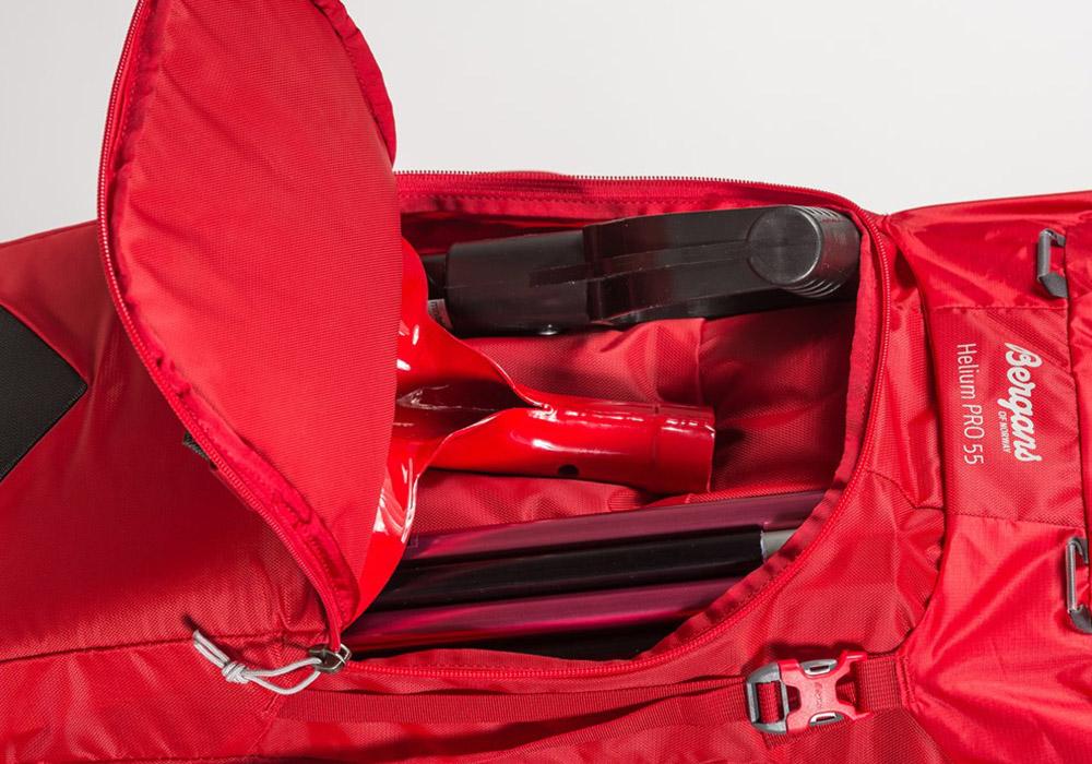 Преден джоб за лавинни уреди туристическа алпийска раница Bergans Helium PRO 40L с въже за катерене