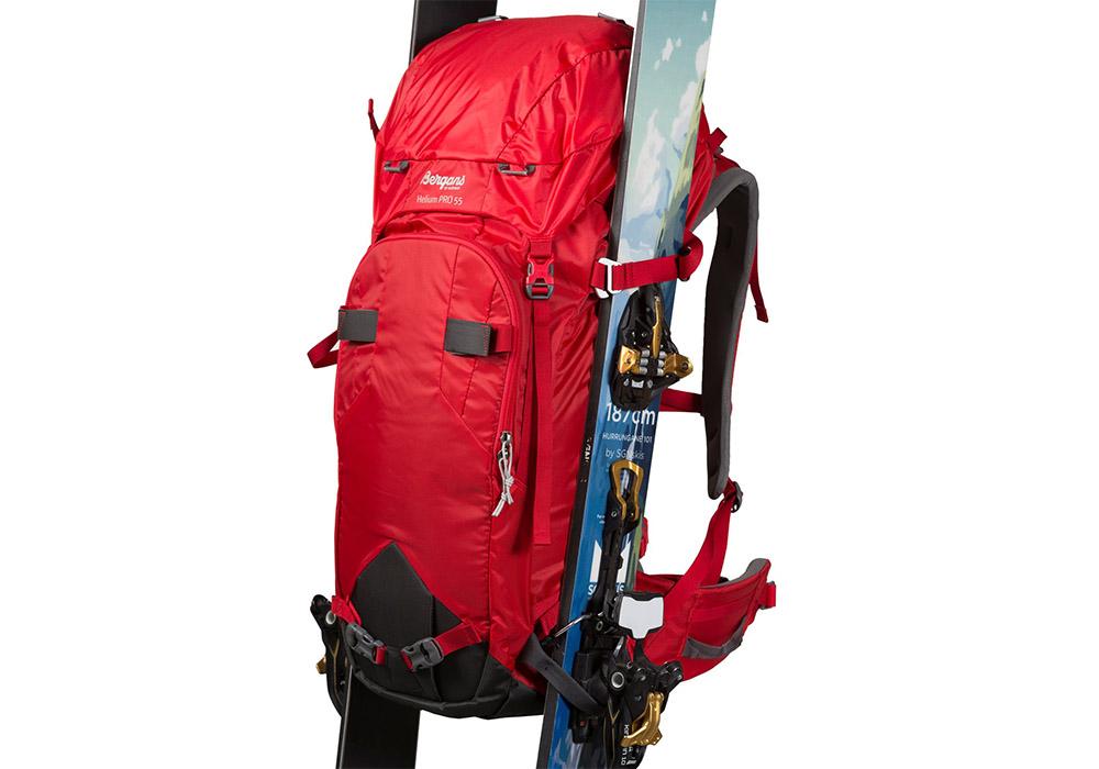 туристическа алпийска раница Bergans Helium PRO 40L със закачени ски