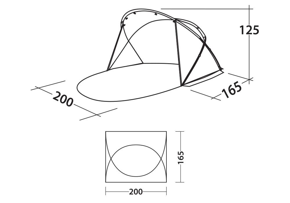 Размери на тента за плаж Easy Camp Shell UV50+ 2020