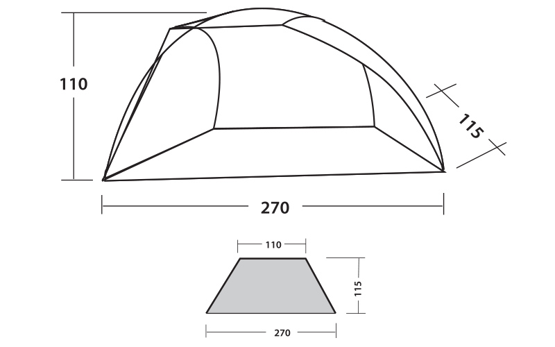 Размери на Тента за плаж Easy Camp Beach 2018 с UV50+ защита