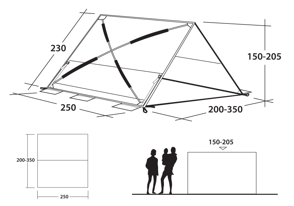 Графика размери на тента Outwell Naples Shelter 2019