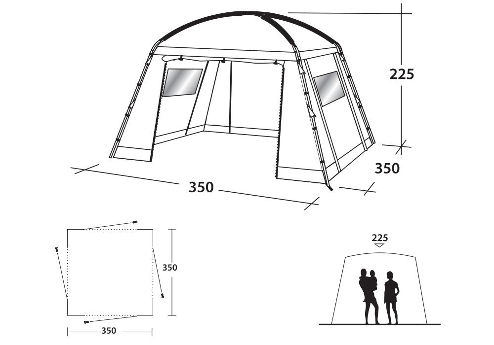 Размери на шатра-павилион Outwell Oklahoma Lite Daytent 2019