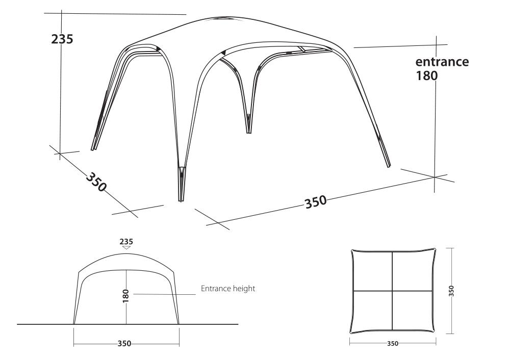 Графика на Шатра Outwell Event Lounge L 3.5 x 3.5 UPF 50+ 2020