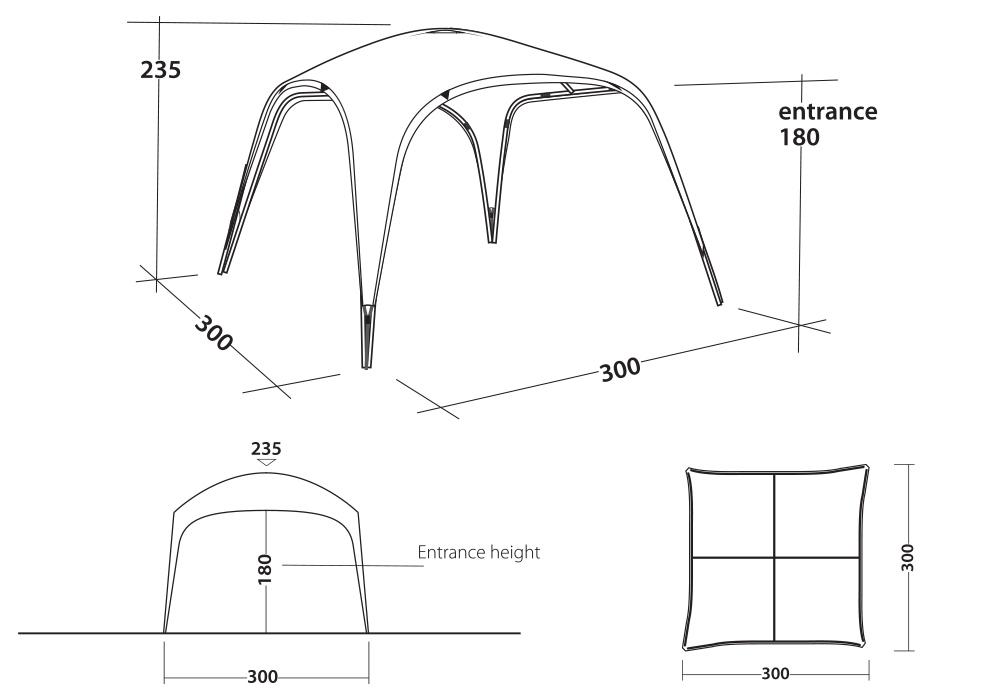 Графика размери на шатра Outwell Event Lounge M 3 x 3 UPF 50+ 2020
