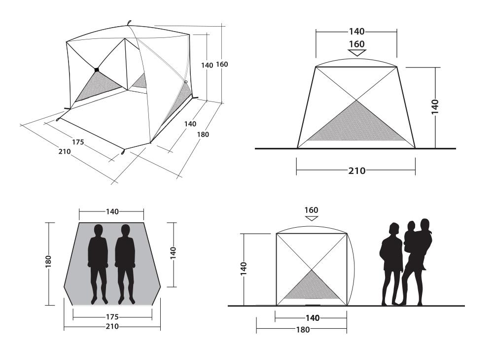 Размери на тента за плаж Outwell Compton Beach Shelter 2021