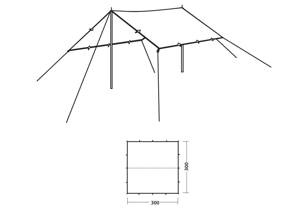 Размери на тента - навес Robens Tarp 3 x 3