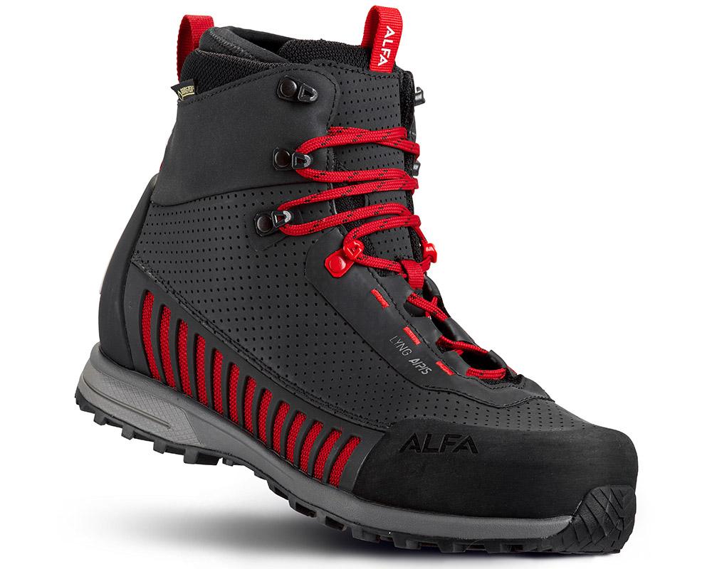 Дамски високи туристически обувки ALFA Lyng APS GTX WMN Black Red