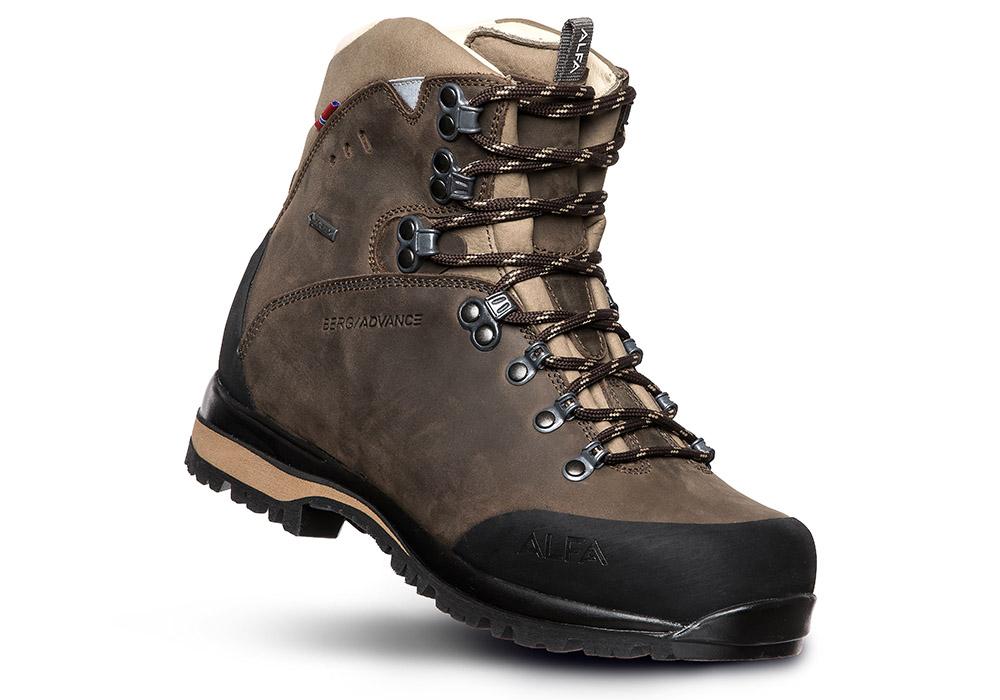 Лице на дамски туристически обувки ALFA Berg Advance GTX W Classic Brown 2021